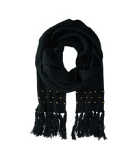 San Diego Hat Company Bss1422 Knit Scarf With Tassels Gold Studs Black Scarves
