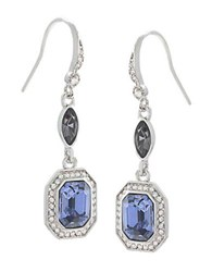 Carolee Silvertone Blue Crystal Drop Earrings Blue Silver
