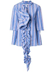 Marni Striped Ruffle Detail Shirt Cotton Blue