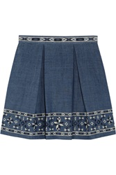Sea Embroidered Cotton Chambray Mini Skirt