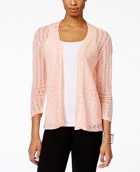 Ny Collection Pointelle Knit Cardigan Only At Macy's Canyon Sunset