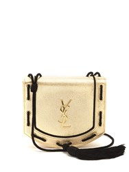 Saint Laurent Monogram Medium Leather Cross Body Bag Black Gold