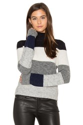 Equipment Calais V Back Striped Sweater Gray