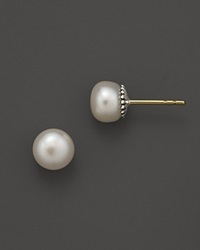 Lagos Sterling Silver Luna Fluted Button Post Pearl Earrings 7Mm No Color