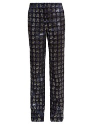 Diane Von Furstenberg Waved Check Jacquard Straight Leg Trousers Navy Multi