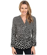 Adrianna Papell Printed Peasant Long Sleeve Top Black Ivory Women's Blouse