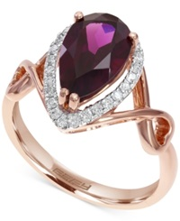 Effy Collection Diamond 1 5 C.T. T.W. And Rhodolite Garnet 2 3 4 C.T. T.W. Ring In 14K Rose Gold