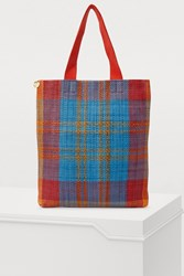 Clare V. Carryall Tote Poppy And Turquoise Plaid Woven