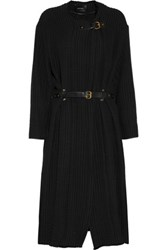 Isabel Marant Gabin Leather Trimmed Cotton Matelasse Coat Black