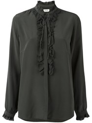 Zadig And Voltaire Ruffled Trim Blouse Grey
