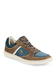 Penguin Two Tone Leather Lace Up Sneakers Cappucino
