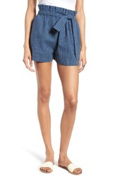 Moon River Women's Stripe Linen And Cotton Paperbag Shorts