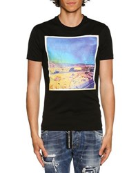 Dsquared American Road Trip Photograph Print T Shirt Black