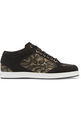 Jimmy Choo Miami Lace Paneled Suede Sneakers Black