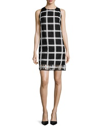 Milly Sleeveless Grid Pattern Organza Shift Dress Black White