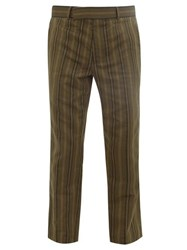 Haider Ackermann Stripe Jacquard Cotton Blend Trousers Dark Khaki