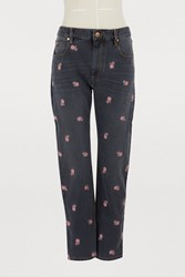 Etoile Isabel Marant Cliffy Cotton Jeans Faded Black