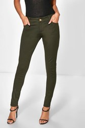 Boohoo Super Stretch Highwaist Skinny Trousers Khaki