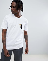 Asos Design Relaxed T Shirt With Toucan Chest Patch White