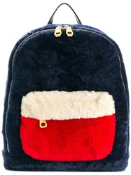 Liska Lamb Fur Backpack Blue