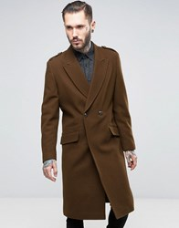 Asos Wool Mix Overcoat With Military Styling In Brown Brown