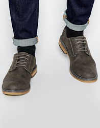 New Look Faux Suede Derby Shoes Charcoal
