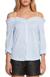 Willow And Clay Off The Shoulder Poplin Top Chambray