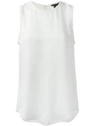Theory Leather Trim Tank Top White