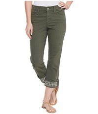 Nydj Dayla Wide Cuff Capris W Embroidery In Topiary Topiary Women's Jeans Green