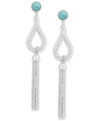 Lucky Brand Silver Tone Stone Fringe Drop Earrings