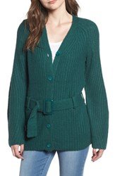 Leith Belted Cardigan Green Bug