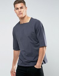 Asos Oversized T Shirt With Square Neck In Grey Atlantic