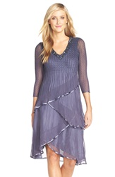 Komarov Tiered Chiffon A Line Dress Purple Sage Blue Ombre