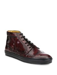 Saks Fifth Avenue Wingtip Leather High Top Sneakers Burgundy
