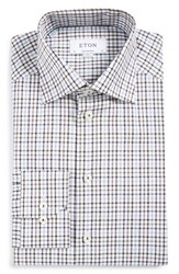 Eton Men's Big And Tall Contemporary Fit Check Dress Shirt Grey