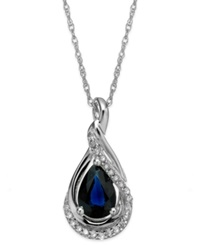 Macy's Sapphire 9 10 Ct. T.W. And Diamond Accent Wrap Pendant Necklace In 14K White Gold