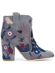 Laurence Dacade Embroidered Ankle Boots Blue