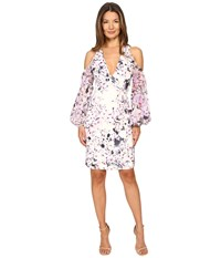 Gabriela Cadena Printed Crepe Cocktail Dress With Ruched Georgette Sleeve Magnolia Pink