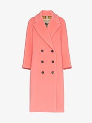 Burberry Walsingham Double Breasted Virgin Wool Cashmere Blend Coat Pink And Purple