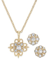Charter Club Gold Tone 2 Pc. Set Crystal Cluster Pendant Necklace And Stud Earrings Only At Macy's