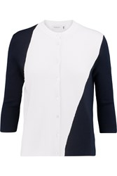 Pringle Two Tone Cashmere Wool And Silk Blend Cardigan White