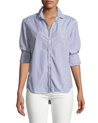 Frank And Eileen Striped Cotton Button Down Shirt Blue White