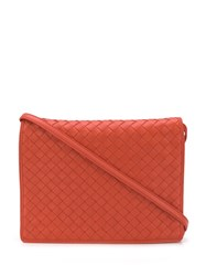 Bottega Veneta Intrecciato Crossbody Bag Orange