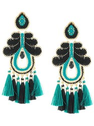 Mercedes Salazar Woven Tassel Drop Earrings Blue