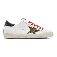 Golden Goose White And Black Leopard Superstar Sneakers