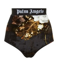 Palm Angels Chenille Logo Tape Panties All Over Black