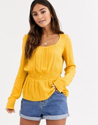 Pimkie Square Neck Shirred Waist Blouse In Mustard Yellow