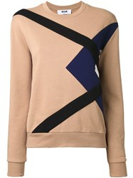 Msgm Crew Neck Sweatshirt Brown