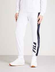 Fila Logo Print Velvet Jogging Bottoms Peacoat