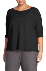 Plus Size Women's Eileen Fisher Lightweight Organic Linen Bateau Neck Sweater Black